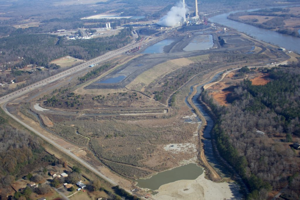 A view of the Gaston Steam Plant with the Coosa River to the right. Photo (c) Frank Chitwood. Flight provided by Southwings.